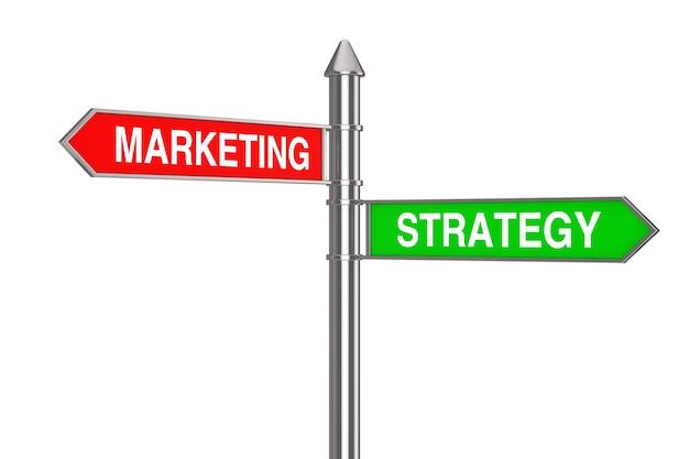 Marketing und strategie richtungspfeile straßenschild auf weißem hintergrund. 3d-rendering