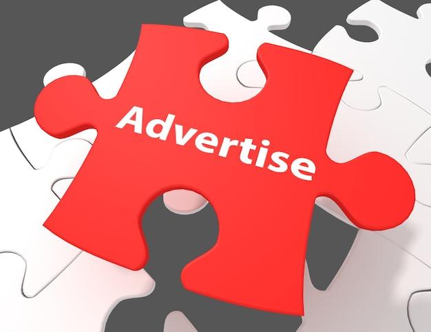 Marketingkonzept: werben sie auf weißem hintergrund mit puzzleteilen, 3d-rendering