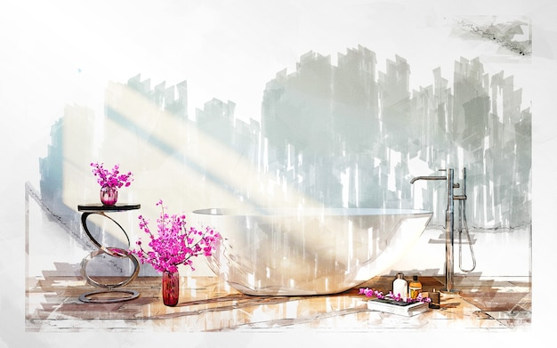 Markierungsskizze des badezimmers mit blumen.