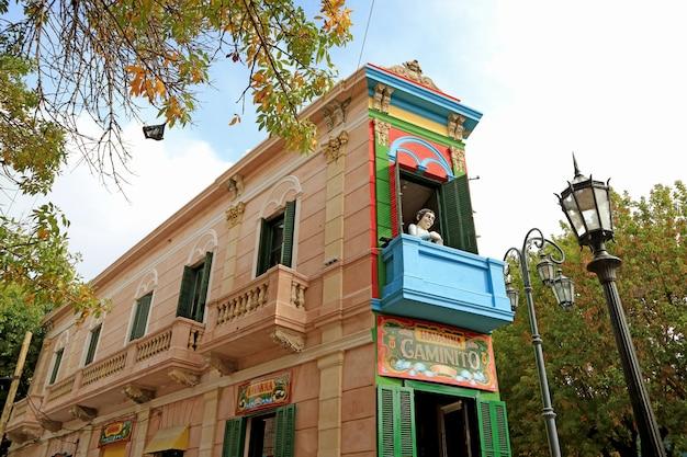 Markstein des caminito oder des kleinen gehwegs auf spanisch, la boca-nachbarschaft, buenos aires, argentinien