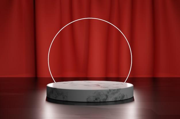 Marmor 3d-podium für produktpräsentation und neonkreis mit rotem textilvorhang auf einem hintergrund