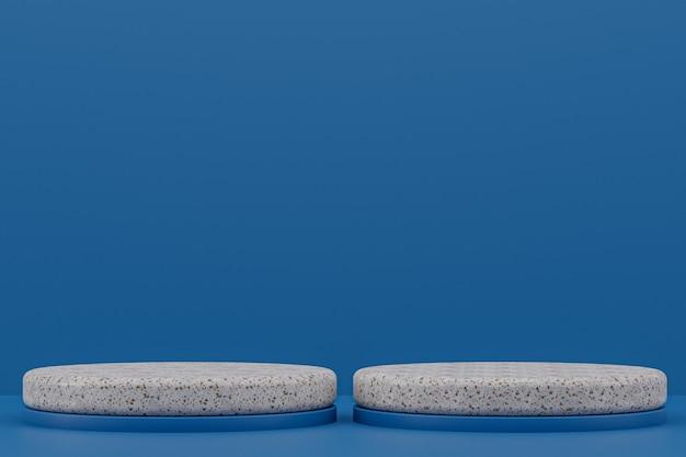 Marmor-podestregal oder leerer produktständer minimaler stil auf dunkelblau für die präsentation kosmetischer produkte.