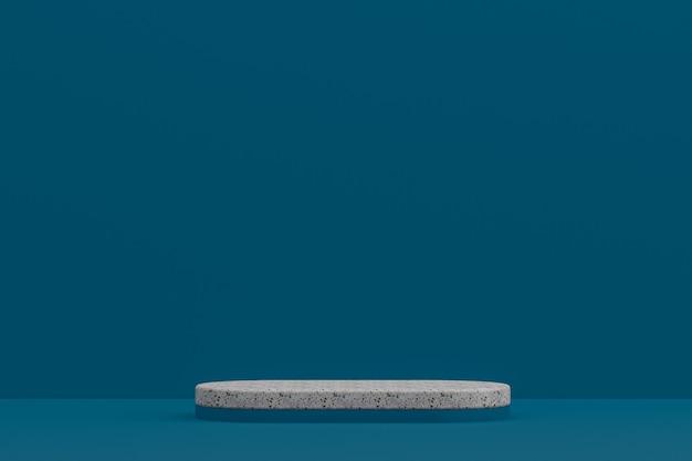 Marmor-podestregal oder leerer produktständer minimaler stil auf dunkelblauem hintergrund für kosmetische produktpräsentation.