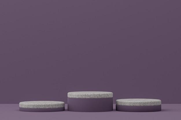 Marmor-podestregal oder leerer produktständer minimaler stil auf lila hintergrund für kosmetische produktpräsentation.