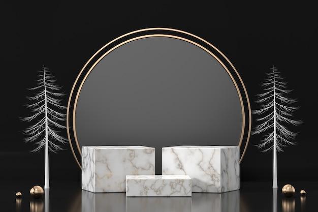 Marmor-podium für produktanzeige-schaufenster im 3d-rendering des schwarzen hintergrunds