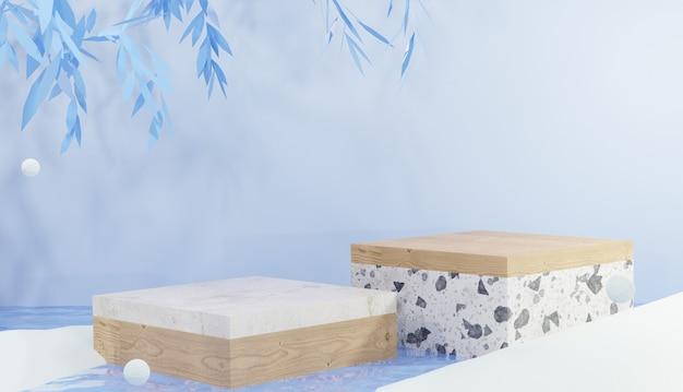 Marmor- und holzquadratpodium 3d-hintergrund auf kaltem wasser, umgeben von schneewinterthema