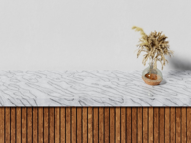 Marmor- und holztisch mit vase und pampa-gras