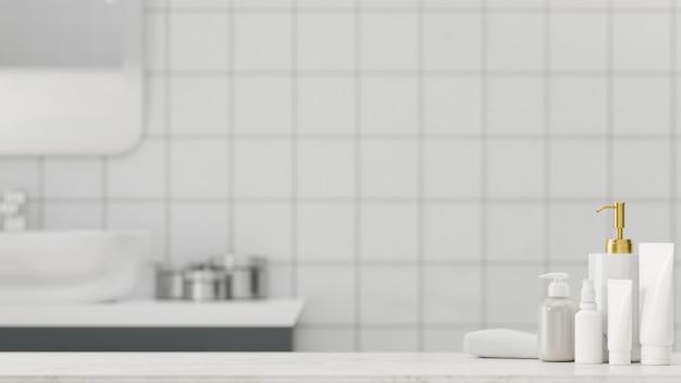 Marmorbadezimmertischplatte mit mockup-raumbadezubehör 3d-rendering