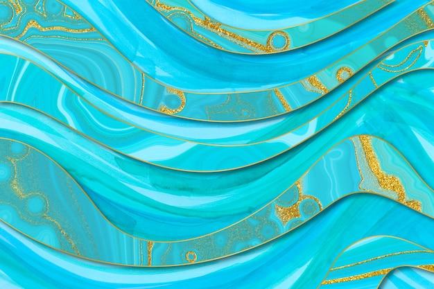 Marmorierter blauer und goldener abstrakter hintergrund. digitale nachahmung des flüssigen marmormusters im ozeanwasserstil.