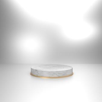 Marmorkreisstufe mit silbernem hintergrund für produktschaukasten