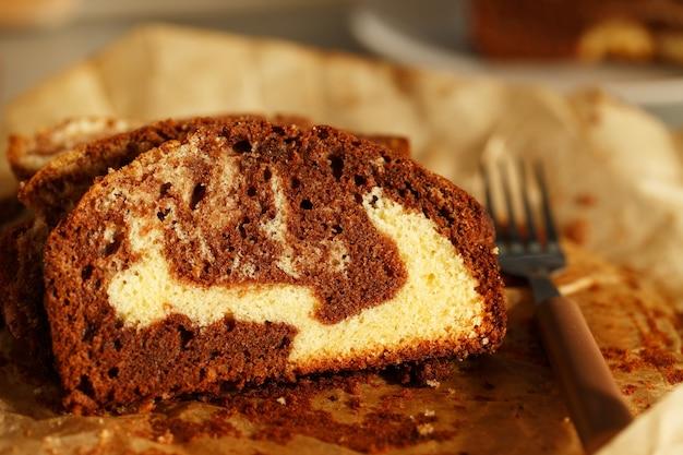 Marmorkuchen, hausgemachter biskuitkuchen