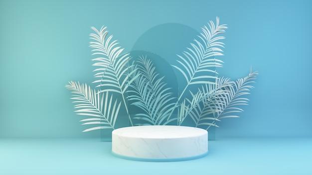 Marmorplattform auf 3d-rendering des blauen hintergrunds