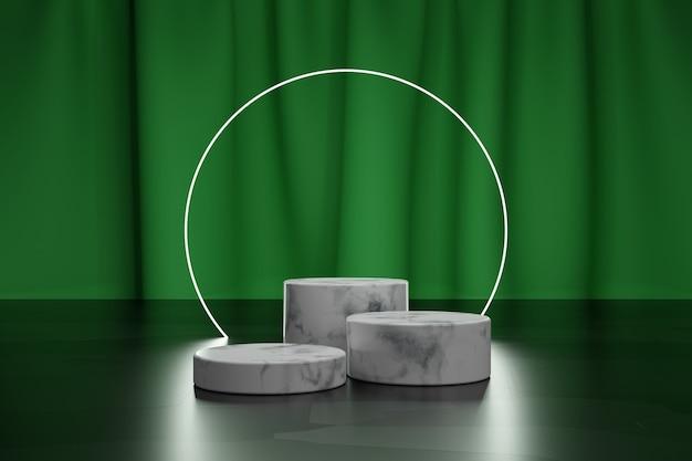 Marmorpodest für produktpräsentation und neonkreis mit grünem textilvorhang auf einem hintergrund