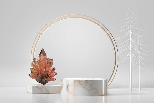 Marmorpodest für produktschaufenster mit kristall im weißen hintergrund 3d rendering