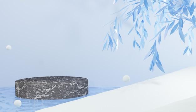 Marmorpodium 3d-hintergrund in kaltem wasser, umgeben von schneewinterthema
