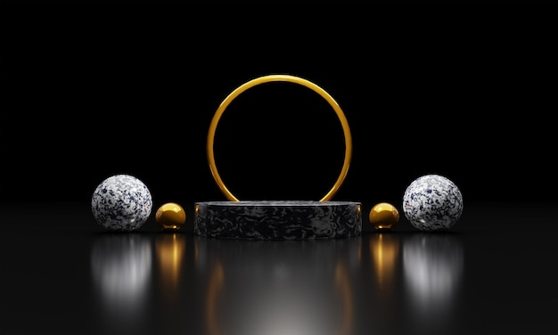 Marmorsockel oder podien mit goldenen rahmen und schwarzem hintergrund