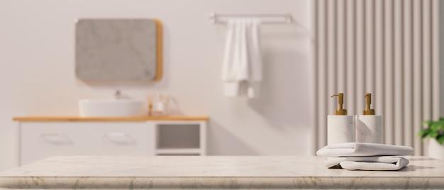 Marmortischplatte mit leerem mockup-platz für produktpräsentation mit stilvollen shampoo- oder seifenflaschen, handtüchern über zeitgenössischem badezimmerinterieur, 3d-rendering, 3d-darstellung