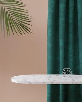 Marmortischplatte mit samtvorhanghintergrund 3d rendern
