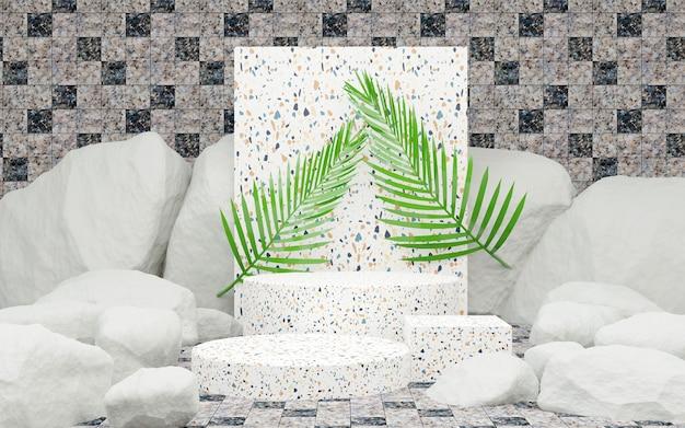 Marmorzylinder und palmblätter pflanzen weiße szene abstrakten stoff 3d-rendering-hintergrund