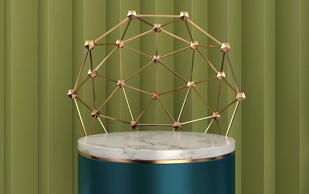 Marmorzylindersockel innerhalb des käfigs, abstrakter geometrischer formgruppensatz, grüner hintergrund, runder goldkäfig, 3d-darstellung, szene mit geometrischen formen, minimalistische modeszene