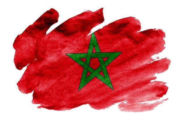 Marokko-flagge wird in der flüssigen aquarellart dargestellt, die auf weiß lokalisiert wird