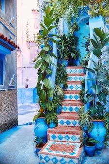 Marokko ist die blaue stadt von chefchaouen, endlose straßen in blauer farbe. viele blumen und souvenirs