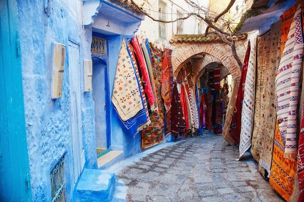 Marokko ist die blaue stadt von chefchaouen