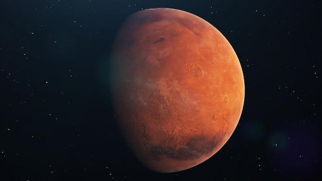 Mars-planet dreht sich im offenen raum über sternen