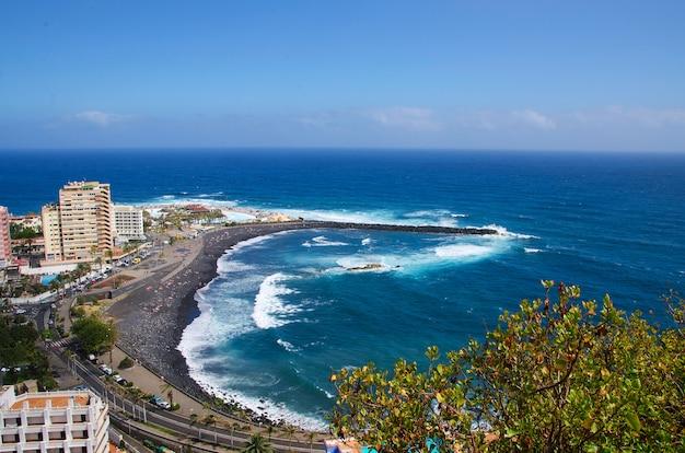 Martianez beach (playa martianez), ansicht von mirador de la paz, puerto de la cruz, teneriffa, kanarische insel, spanien