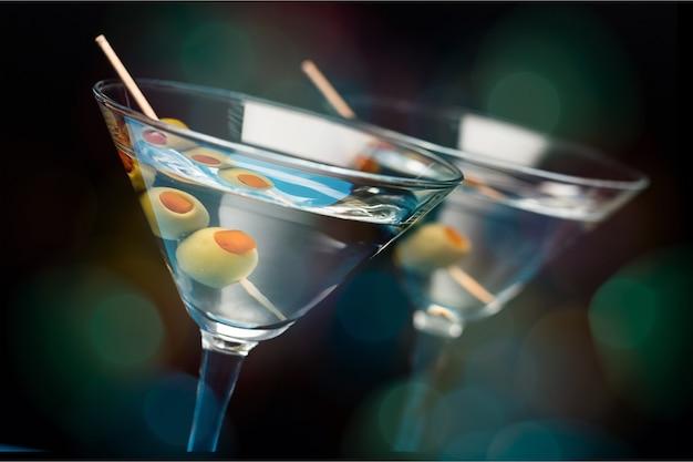 Martini-cocktail im glas, nahaufnahme