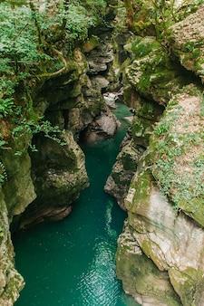 Martvili canyon in georgia. schöne natürliche schlucht mit gebirgsfluss.