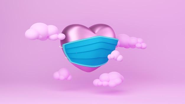 Maskiertes herz auf rosa hintergrundfeierkonzept für glückliche frauen, vatermutter, süßes herz, banner oder broschürengeburtstagsgruß-geschenkkartenentwurf. romantisches liebesgrußplakat 3d.