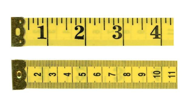 Maßbandlineal mit imperialen und metrischen einheiten