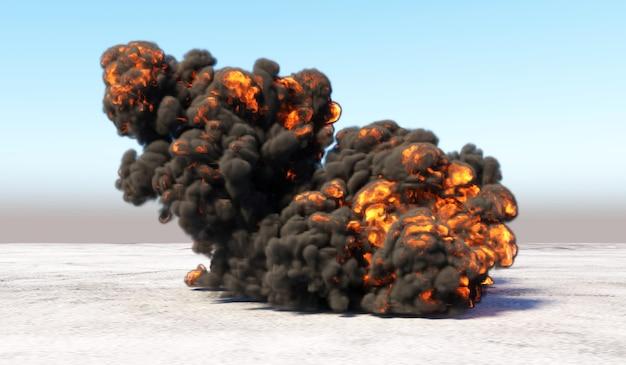 Massive explosion mit rauch in einem leeren bereich