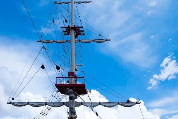 Mast eines piratenschiffs auf blauem himmel.