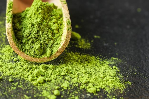 Matcha - grüntee-pulver, nahrungsergänzungsmittel