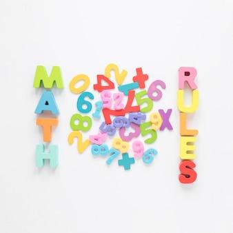 Mathe-regeln mit bunten buchstaben und zahlen geschrieben