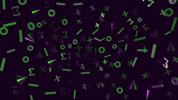 Mathe-symbol grün und lila farbe 3d rendern hintergrund