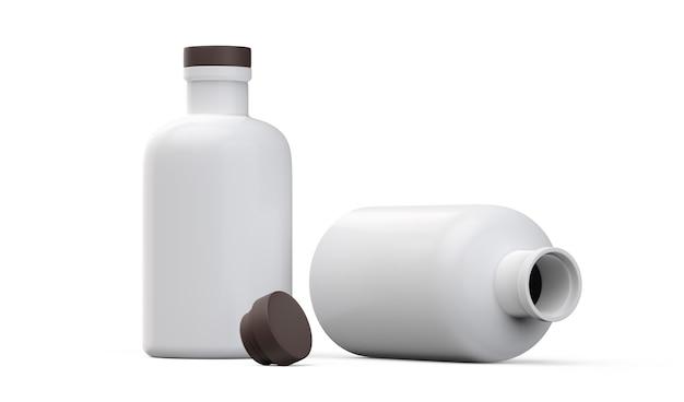 Mattweiße flasche auf weißem hintergrund 3d