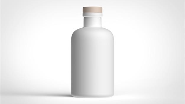 Mattweiße flasche auf weißem hintergrund