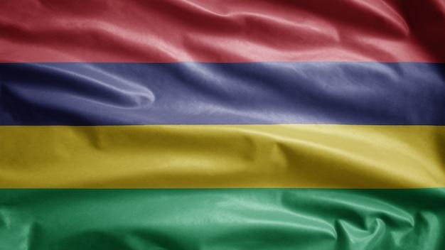 Mauritische flagge weht im wind. mauritius banner weht weiche seide