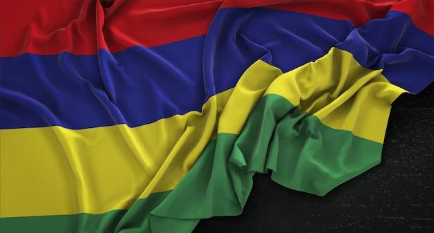 Mauritius-fahne geknittert auf dunklem hintergrund 3d render
