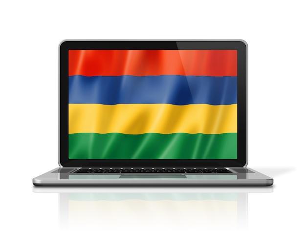 Mauritius-flagge auf laptop-bildschirm isoliert auf weiss. 3d-darstellung rendern.