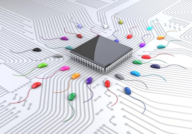 Mause-spermien brauchen einen chip, um sich zu vermehren. 3d-rendering