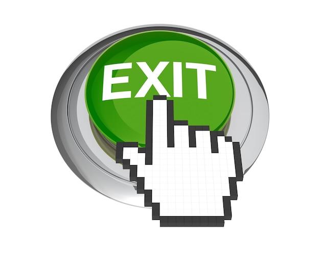 Mauszeiger auf grünem exit-button. 3d-abbildung.