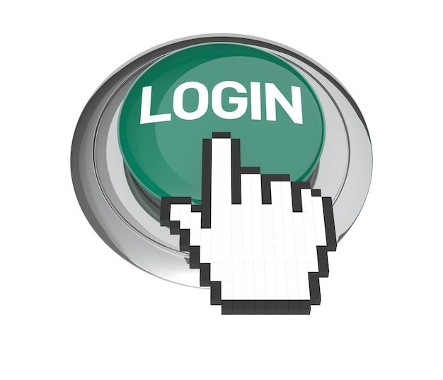Mauszeiger auf grünem login-button. 3d-abbildung.