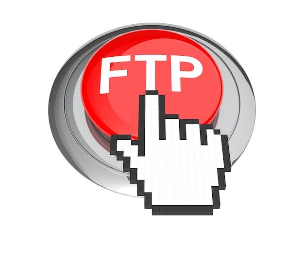 Mauszeiger auf rotem ftp-knopf. 3d-abbildung.