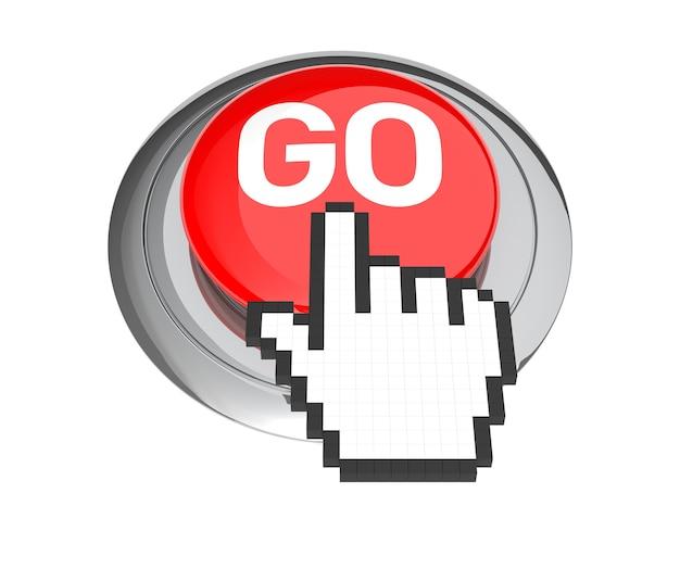 Mauszeiger auf rotem go-knopf. 3d-abbildung.