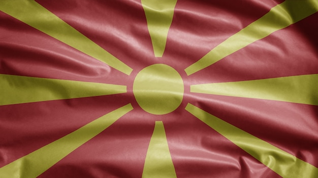 Mazedonische flagge weht im wind. nordmazedonien-banner weht weiche seide. stoff textur fähnrich