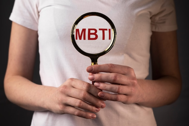 Mbti akronym wort durch lupe psychologie testkonzept